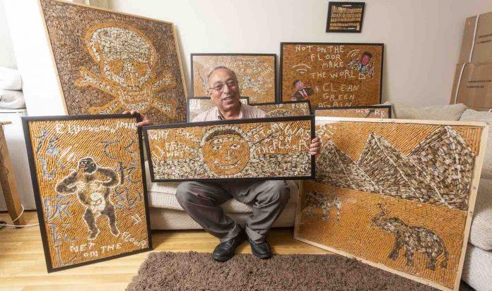 პენსიაზე გასულმა ფარმაცევტმა 120,000 სიგარეტის ნამწვი შეაგროვა ქუჩებიდან ხელოვნების ნიმუშების დასამზადებლად
